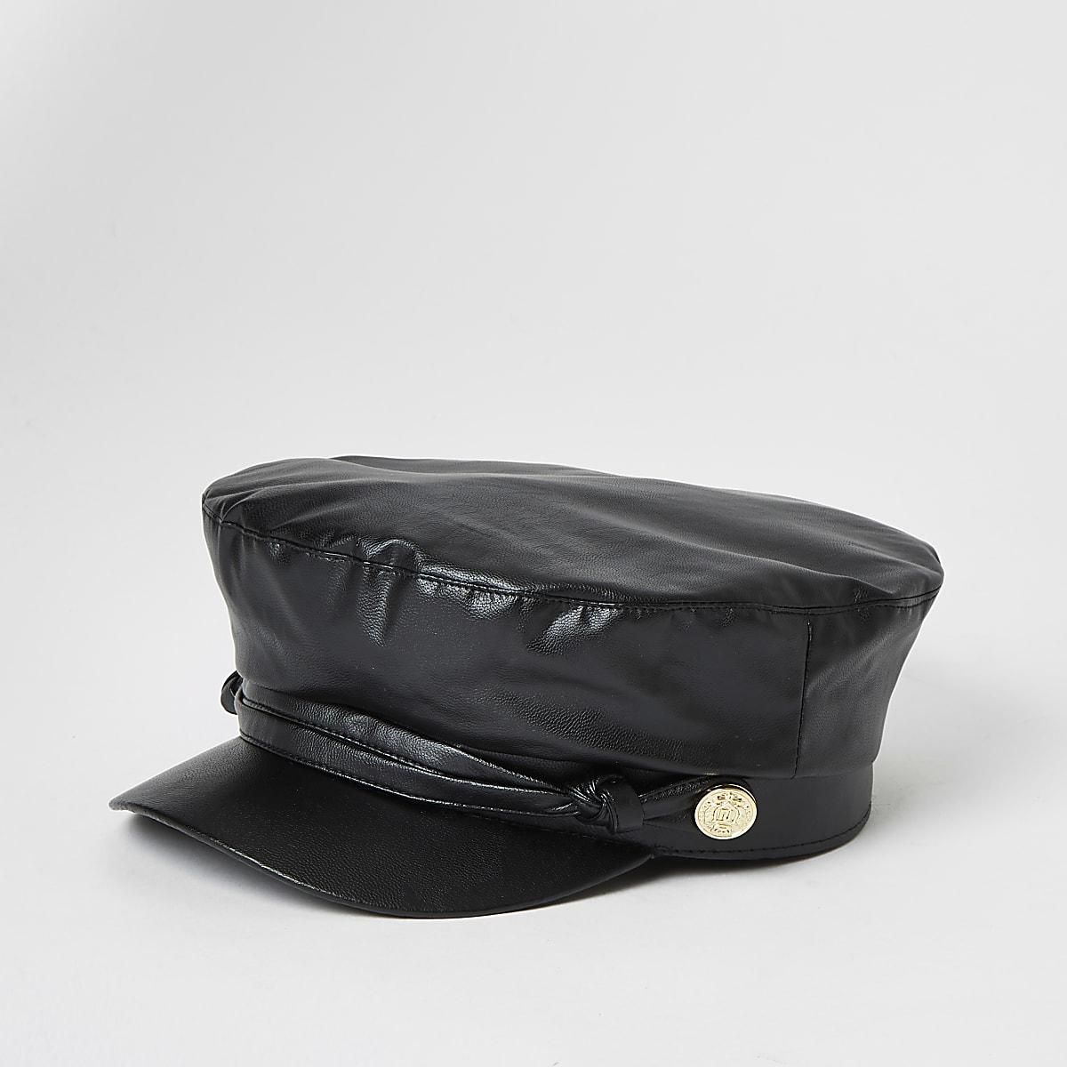 Girls black faux leather baker boy hat