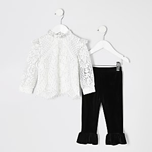 Cremefarbenes Oberteil- und Leggings-Outfit mit Spitze für kleine Mädchen