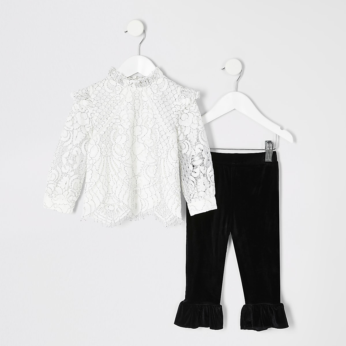 Mini girls cream lace top and legging outfit