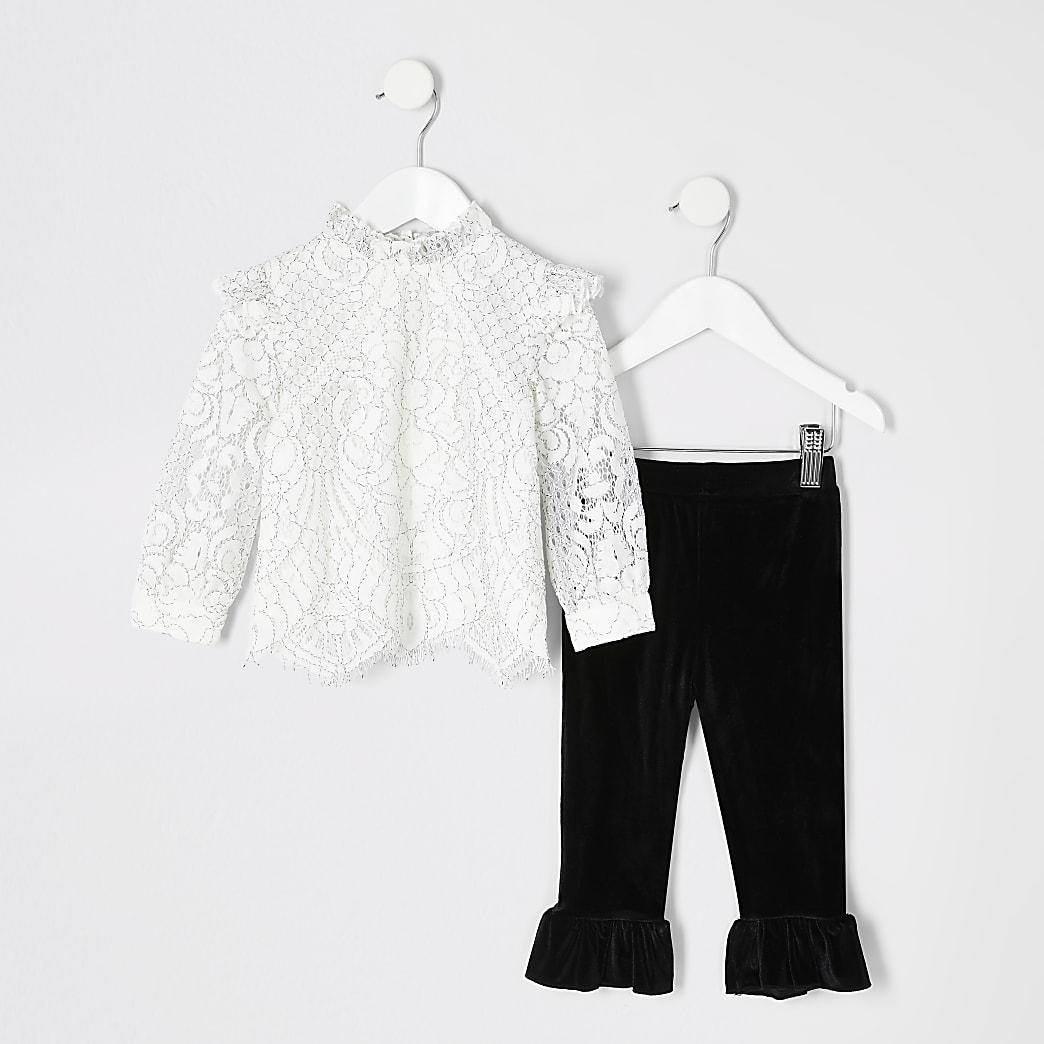Mini - Outfit met crèmekleurige top met kanten en legging voor meisjes