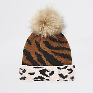 Girls beige animal print beanie hat