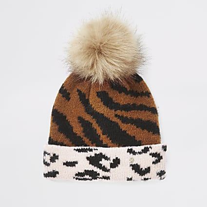 Girls beige animal print beanie hat