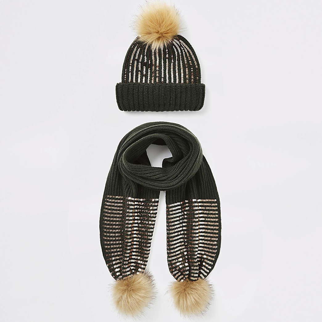 Girls khaki sequin beanie hat and scarf set