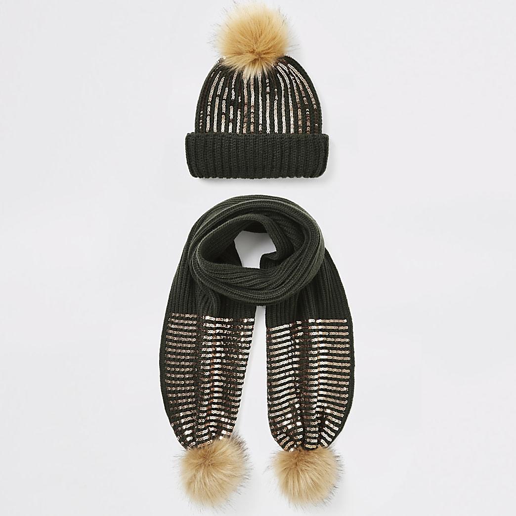 Set met kaki beanie muts en sjaal met pailletten voor meisjes