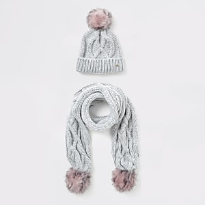 Fille – Ensemble bonnet et écharpe gris en maille torsadée
