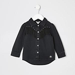 Schwarzes Jeanshemd mit Quasten und Fransen für kleine Mädchen