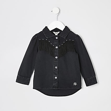 Mini girls black tassel fringe denim shirt