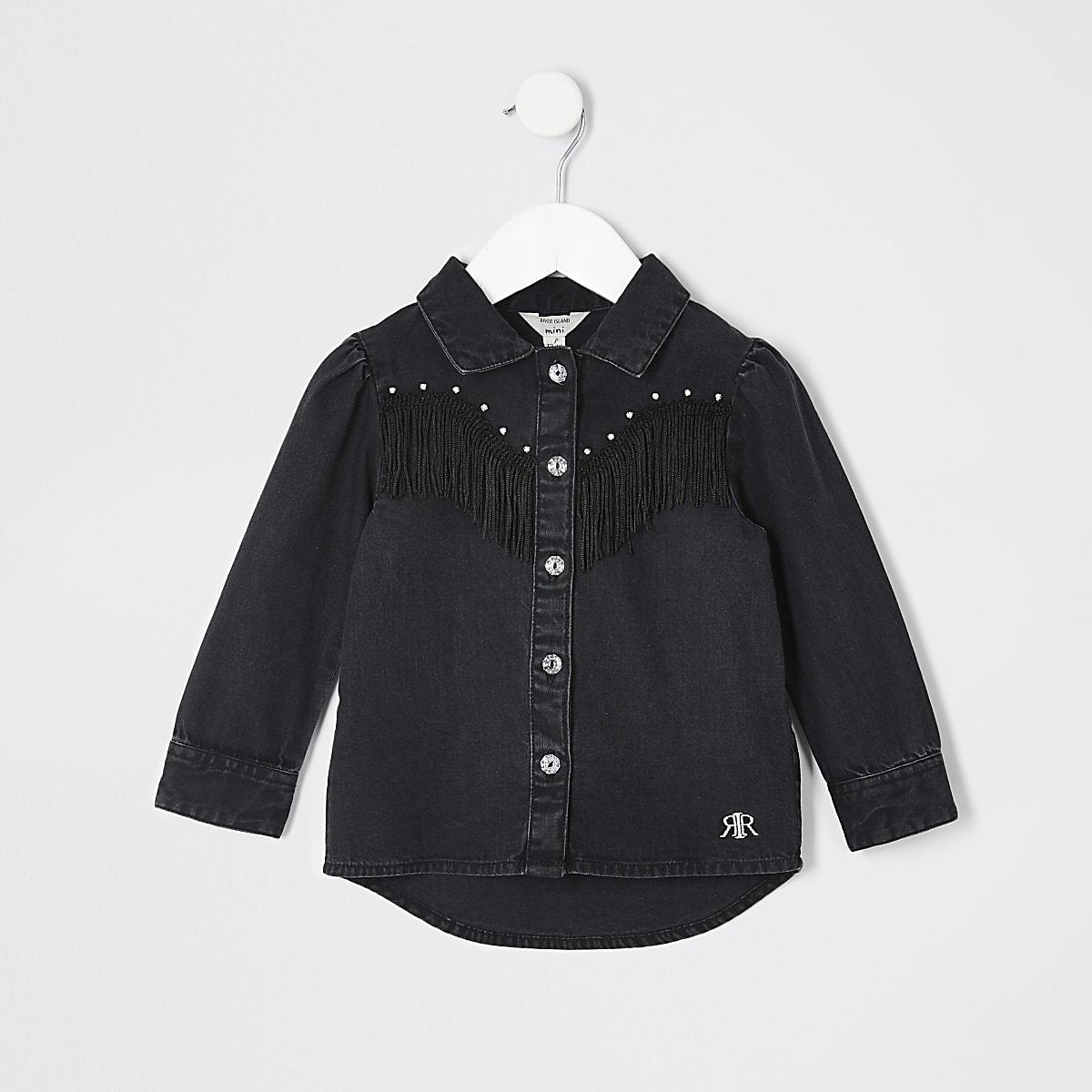 Mini - Zwart denim overhemd met kwastjes en franje voor meisjes