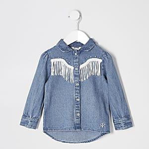Mini - Blauw denim overhemd met kwastjes en franje voor meisjes