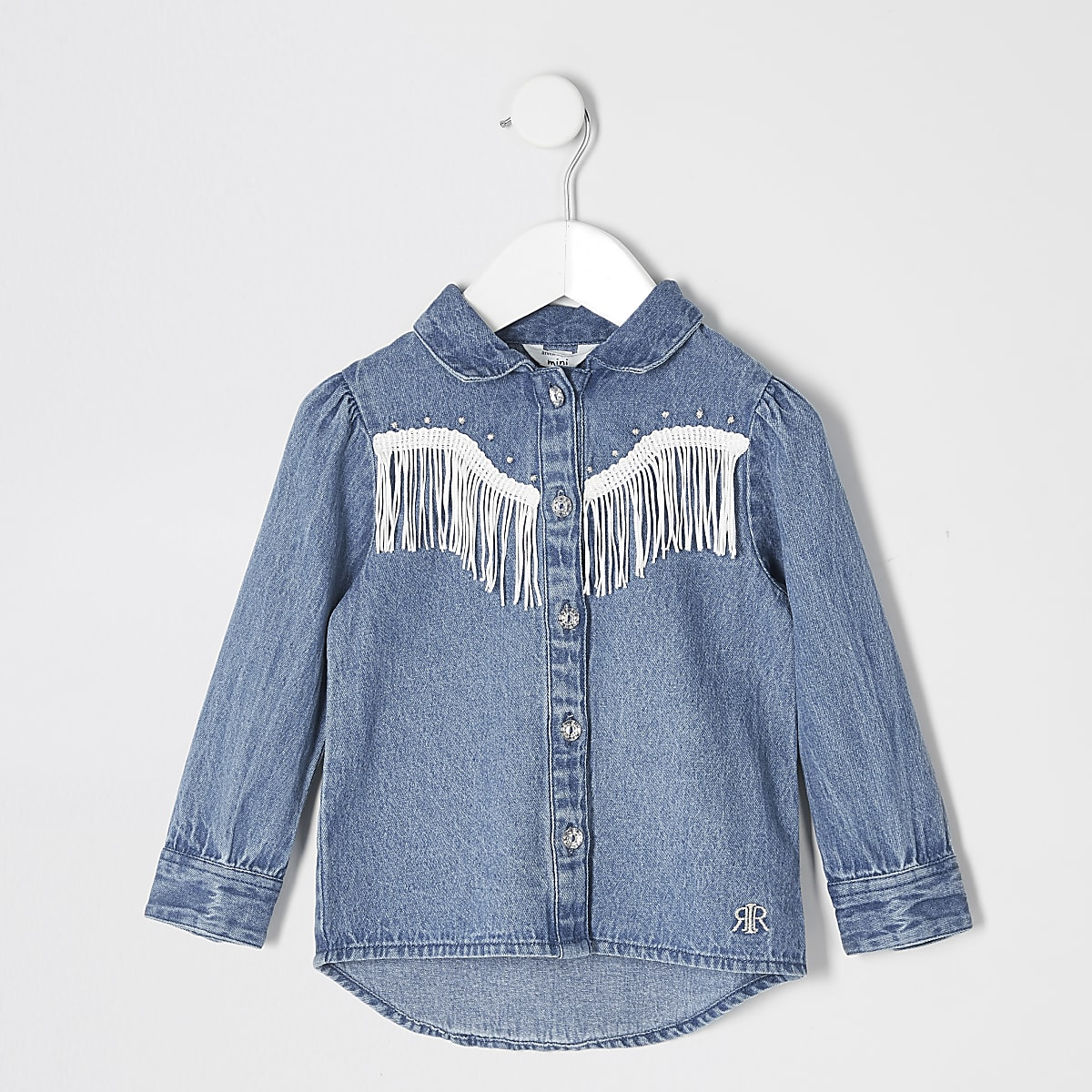 Mini girls blue tassel fringe denim shirt