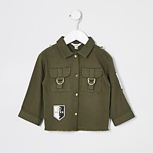 Mini – Langärmelige Utility-Hemdjacke in Khaki für Mädchen