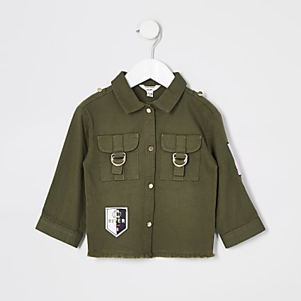 Mini girls khaki utility long sleeve shacket