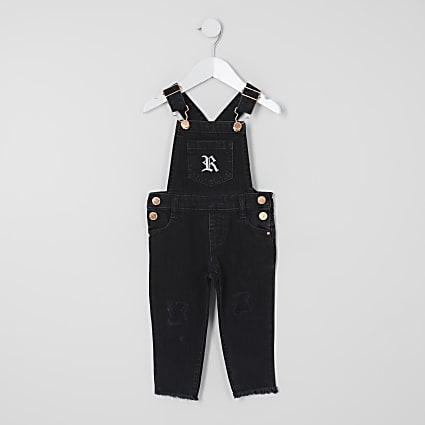 Mini girls black washed denim dungarees