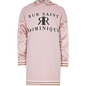 Roze hoodie-jurk met satijnen mouwen voor meisjes