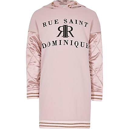 Girls pink satin sleeve hoodie dress