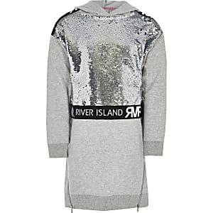 Sweatshirtkleid mit silbernen Pailletten für Mädchen