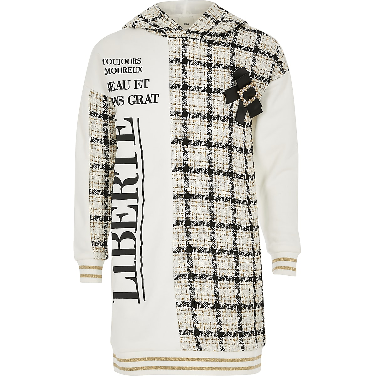 Crème bouclé hoodie-jurk met capuchon voor meisjes