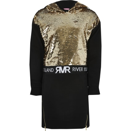 Girls black sequin embellished hoodie dress
