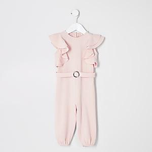 Mini - Roze jumpsuit met riem en ruche voor meisjes