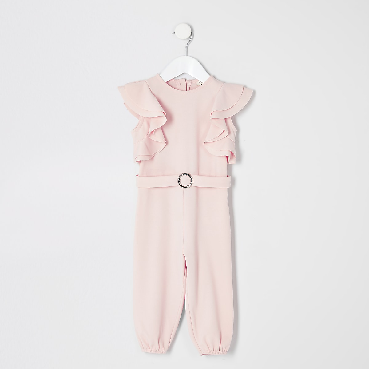 Mini girls pink belted frill jumpsuit