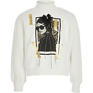 Weißes Sweatshirt mit Luxe-Print und Verzierung für Mädchen
