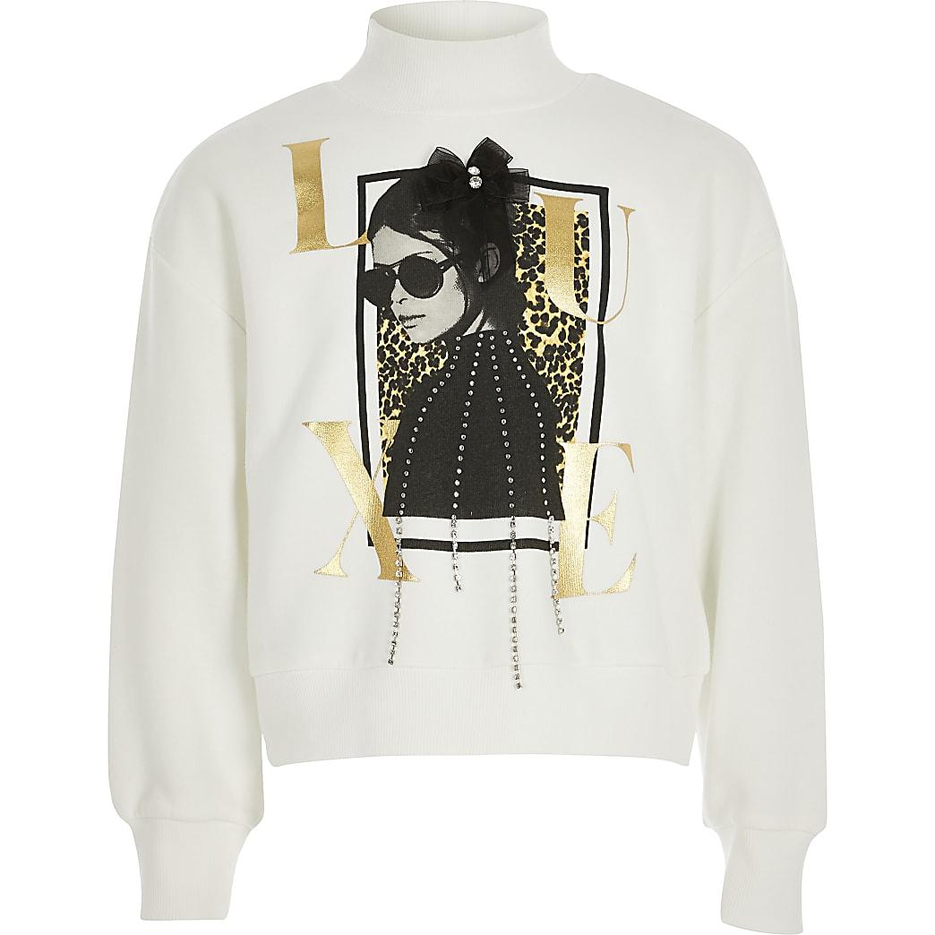 Girls white 'Luxe' embellished sweatshirt