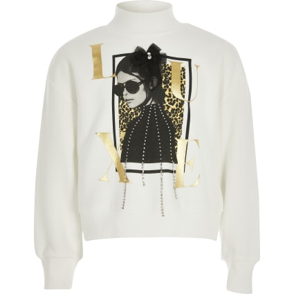 Girls white 'Luxe' embellished sweatshirt