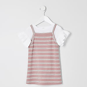 Pinkes, gestreiftes 2-in-1-T-Shirt-Kleid