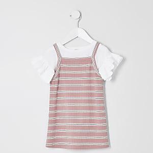 Mini - Roze 2-in-1 T-shirtjurk met strepen voor meisjes