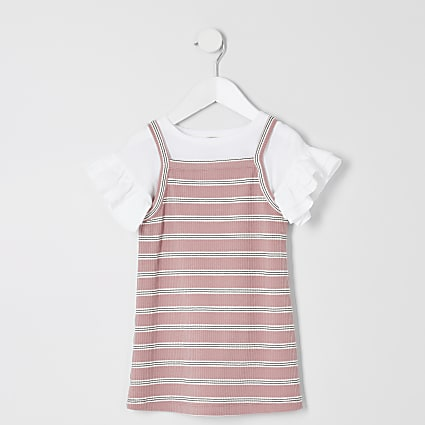 Mini girls 2 in 1 pink stripe T-shirt dress