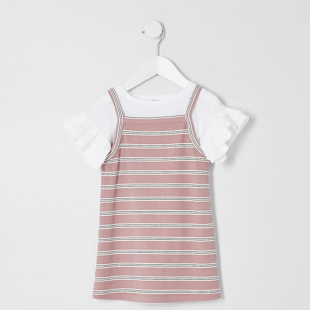 Ensemble caraco à rayures roses pour Mini fille