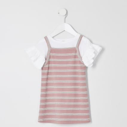 Mini girls pink stripe cami dress outfit