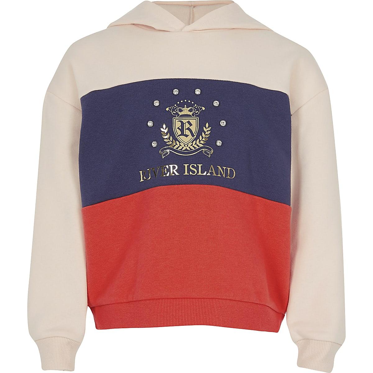 Girls orange colour block RI crest hoodie