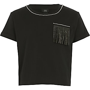 Girls black embellished tassel crop T-shirt