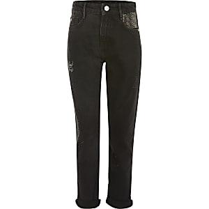 Schwarze Mom-Jeans mit Strass für Mädchen