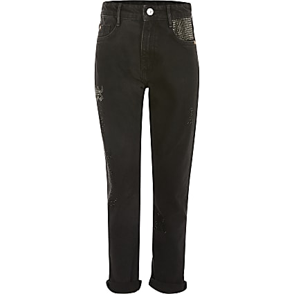 Girls black diamante Mom denim jeans