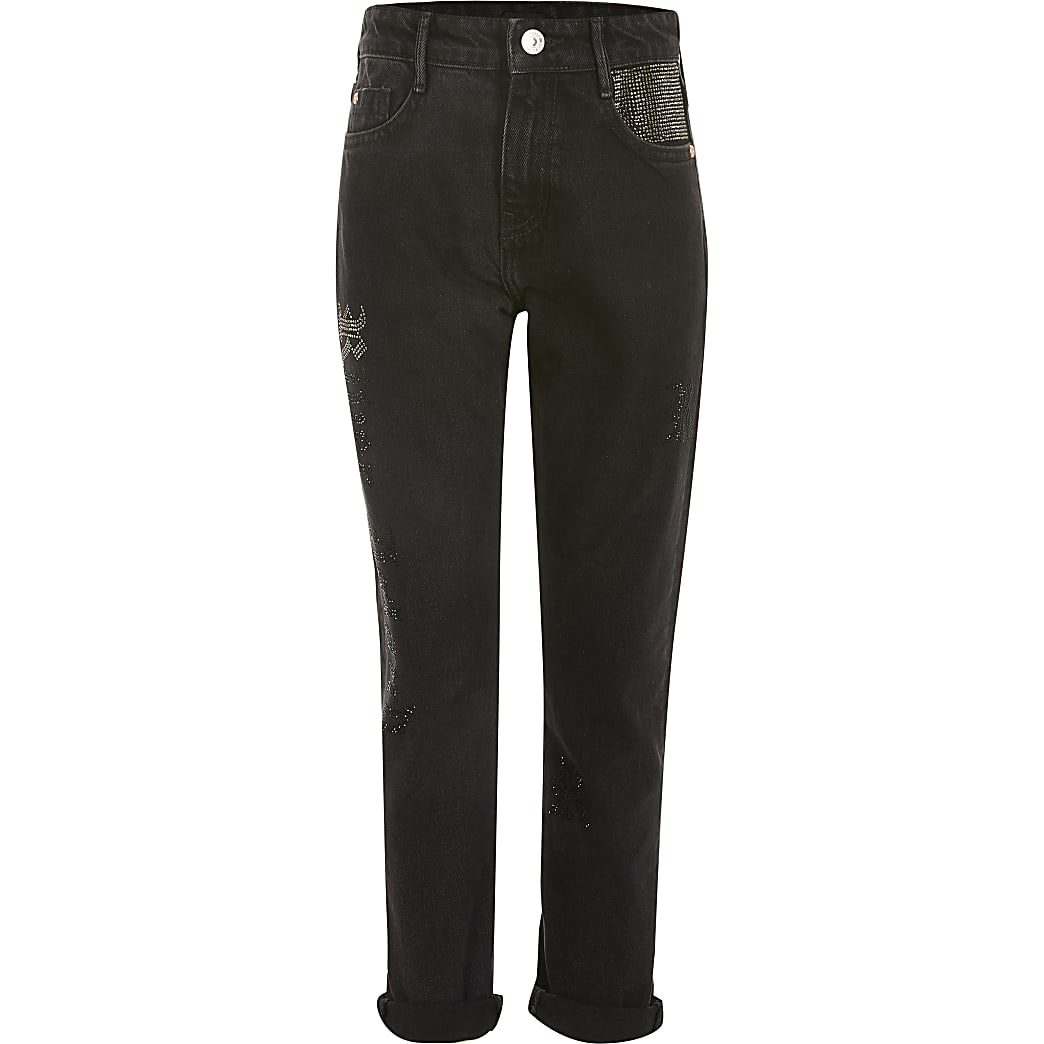 Girls black diamante Mom denim jeans