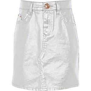 Mini-jupe en denim argenté métallisé pour fille