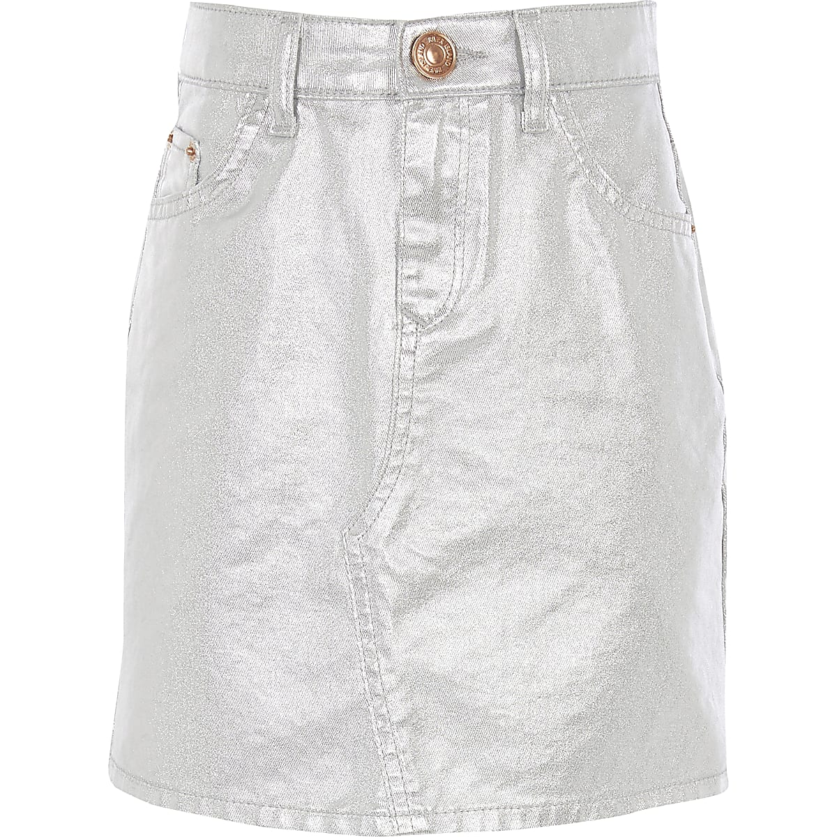 Girls silver metallic denim mini skirt