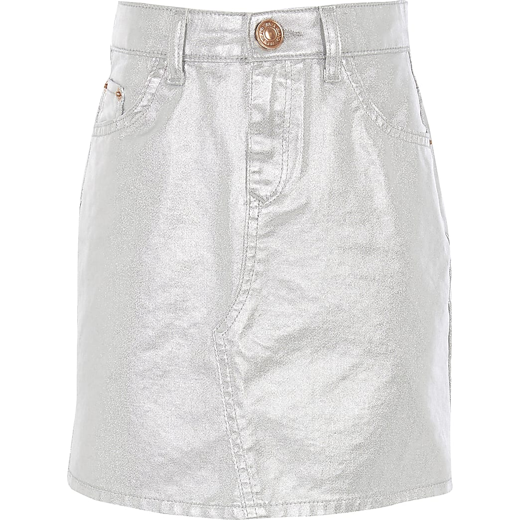Girls silver metallic denim mini skirt
