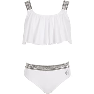 Girls white glitter RI bikini set