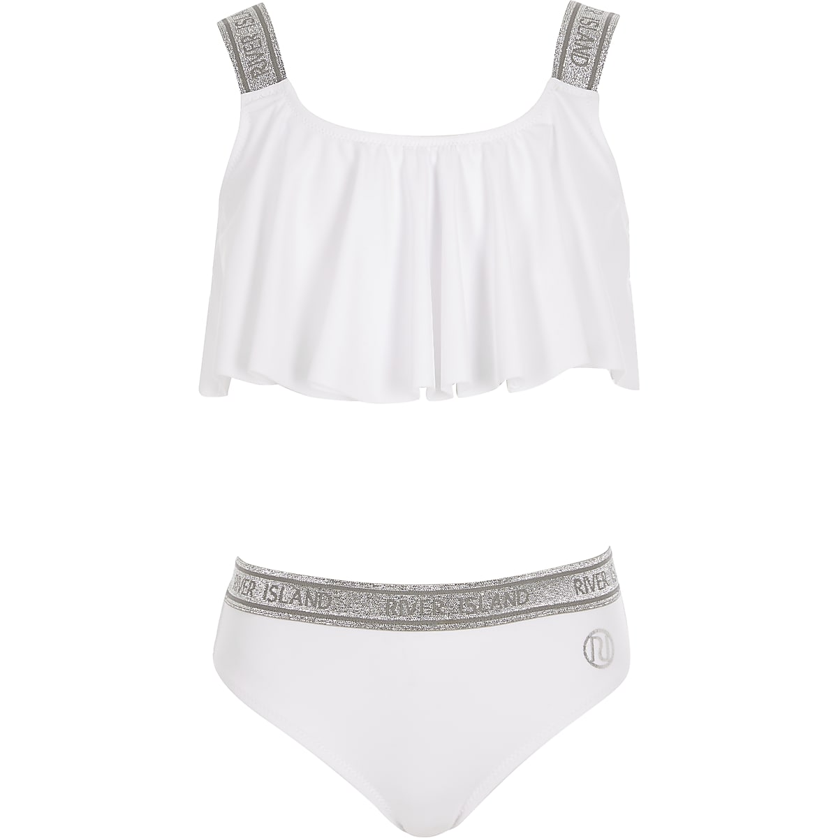 quality products authorized site buy real Girls white glitter RI bikini set