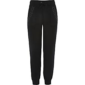 Pantalons de jogging noirs ornés de strass pour fille