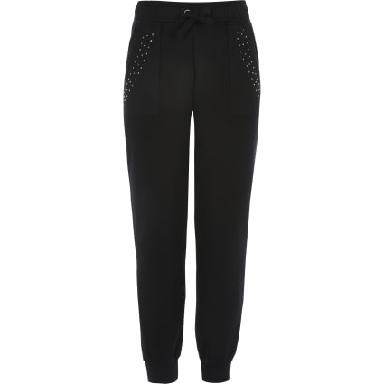 Girls black diamante embellished joggers