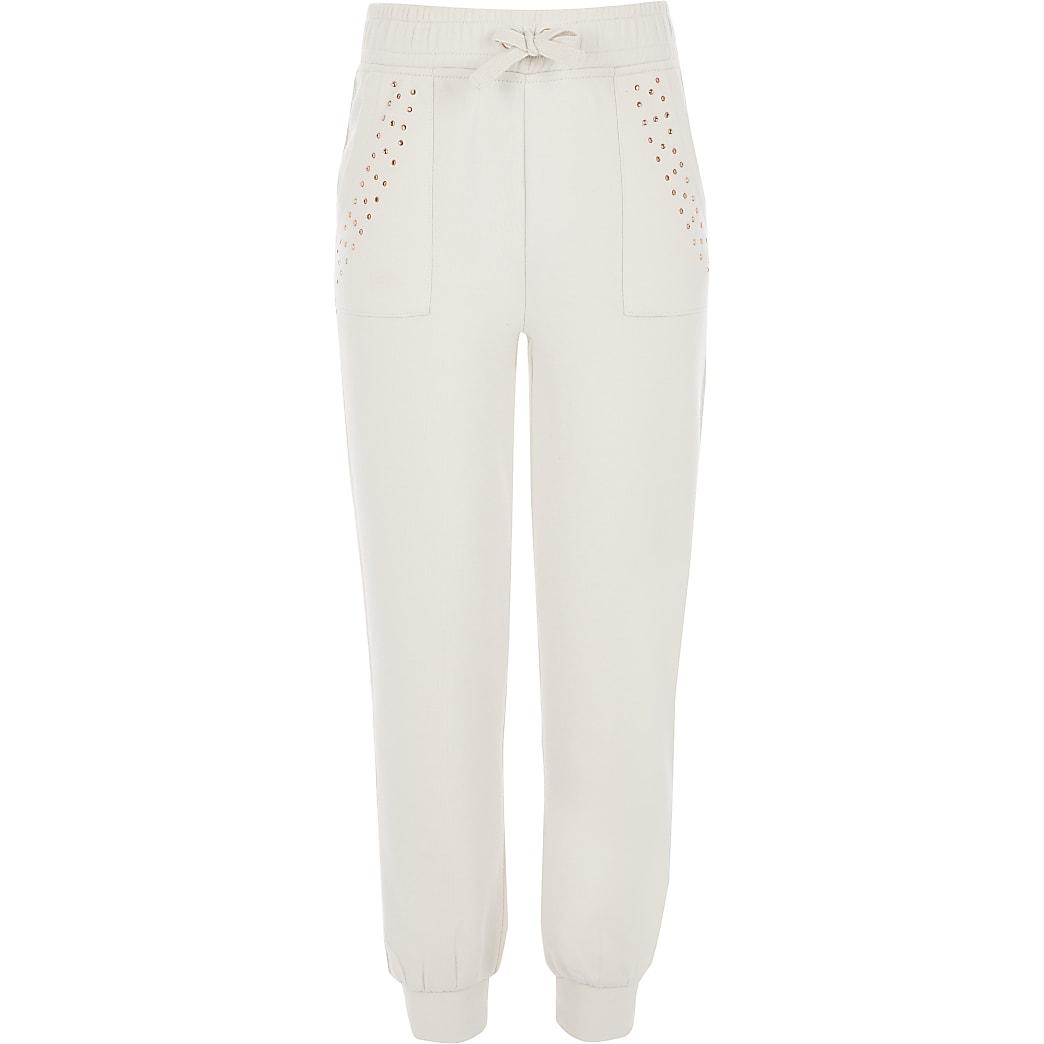 Pantalons de jogging beiges ornés de strass pour fille