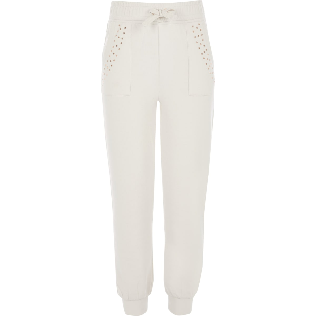 Girls beige diamante embellished joggers