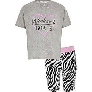 Roze pyjama outfit met 'weekend goals'-print voor meisjes