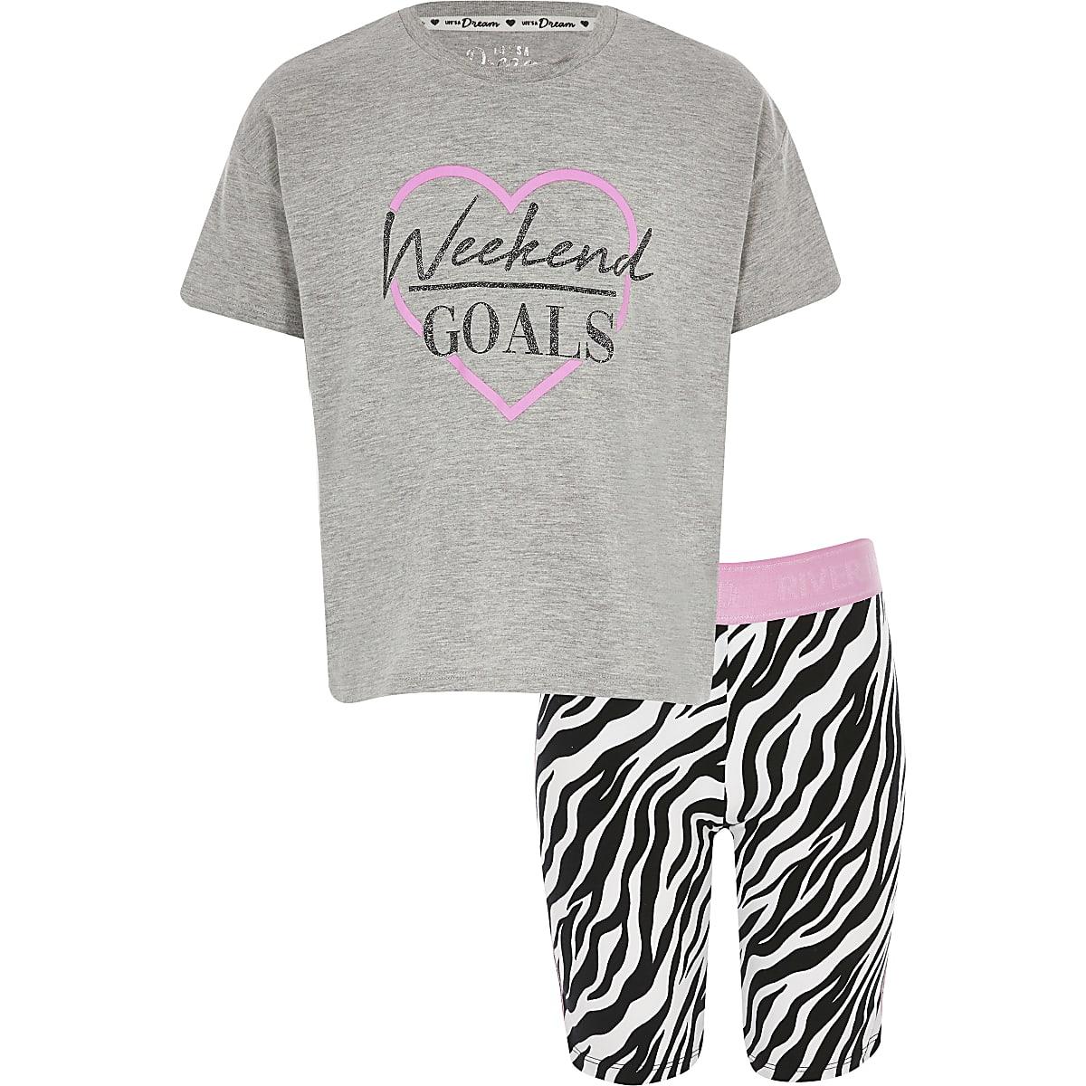 Girls pink 'weekend goals' pyjama outfit
