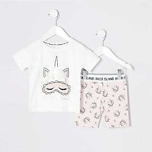 Mini - Roze pyjama outfit met eenhoornprint voor meisjes