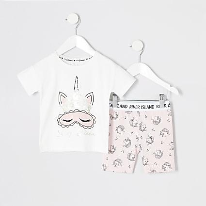 Mini girls pink unicorn pyjama outfit